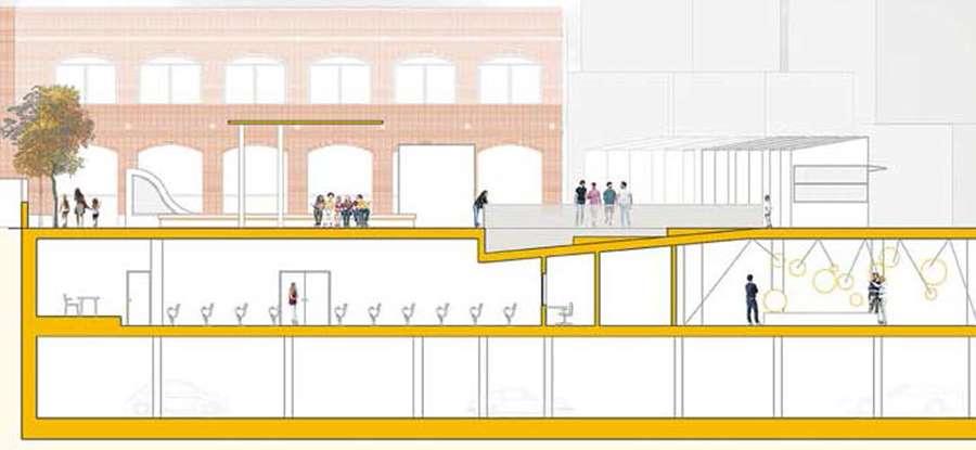 Una plaza, un anfiteatro  al aire libre, un edificio para cursos…