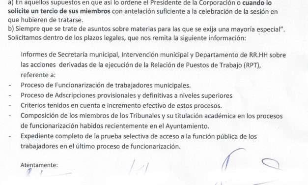 Irregularidades en la RPT y en los procesos de funcionarización en el Ayuntamiento.
